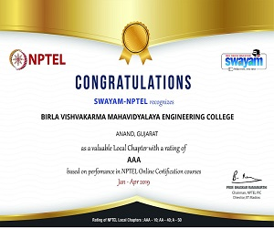 Certificate of AAA rating and 6th position in NPTEL Local Chapter