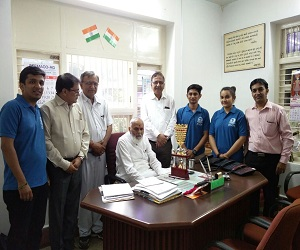 Team BVM & Honorable Chairman Sir with Runner-up trophy at XITIJ Inter zonal final at Rajkot